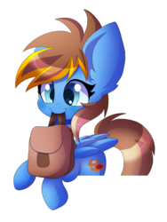 Size: 1200x1600 | Tagged: safe, artist:blazemizu, oc, oc only, pony, mouth hold, saddle bag, simple background, solo, to saddlebags and back again, transparent background