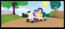 Size: 603x275 | Tagged: safe, artist:shujiwakahisaa, edit, flash sentry, twilight sparkle, alicorn, pony, comic:the magic of pregnancy, bench, cropped, female, flashlight, male, mare, nuzzling, pointy ponies, pregnant, shipping, spread wings, stallion, straight, twilight sparkle (alicorn), wings