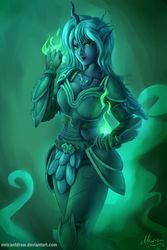 Size: 4000x6000 | Tagged: safe, artist:mricantdraw, queen chrysalis, human, absurd resolution, armor, breasts, busty queen chrysalis, cleavage, eared humanization, fantasy, female, horned humanization, humanized, magic, pony coloring, solo, wallpaper