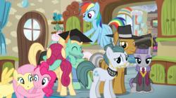 Size: 1278x718 | Tagged: safe, artist:3d4d, artist:canon-lb, artist:pink1ejack, artist:vector-brony, cloudy quartz, fluttershy, igneous rock pie, maud pie, pinkie pie, posey shy, rainbow dash, zephyr breeze, pony, rock solid friendship, graduate, graduation cap, hat, hug, quartzrock, shys, sitting, the shy family