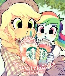 Size: 600x693 | Tagged: safe, artist:rikuta, applejack, rainbow dash, human, equestria girls, braid, cute, dashabetes, drink, duo, female, hashtag, jackabetes, no catchlights, selfie, starbucks, straw, unicorn frappuccino