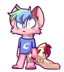 Size: 787x883 | Tagged: anthro, artist:jetjetj, commission, cute, furry, hyena, oc, oc:sugar sprinkle-paw gumm, plushie, pony doll, pony plush, roseluck, roseluck plushie, safe, ych example, your character here