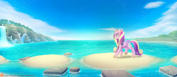 Size: 2098x914   Tagged: safe, artist:balade, princess cadance, alicorn, pony, seagull, beach, cloud, crown, crystal, female, gem, mare, patreon, regalia, scenery, sky, smiling, solo, water, waterfall