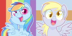 Size: 700x350 | Tagged: safe, artist:yokokinawa, derpy hooves, rainbow dash, pegasus, pony, colored pupils, cute, dashabetes, derpabetes, duo, female, looking at you, mare, open mouth, smiling, spread wings, wings