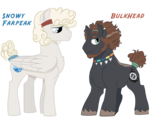 Size: 960x750 | Tagged: artist:dbkit, dumbbell, earth pony, female, male, mare, oc, oc:bulkhead, oc only, oc:snowy farpeak, parent, pegasus, pony, previous generation, safe, simple background, stallion, transparent background