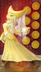Size: 600x1036   Tagged: safe, artist:gashiboka, oc, oc only, diamond dog, clothes, coin, dress, everfree tarot, female, female diamond dog, minor arcana, nine of coins, nine of diamonds, solo, tarot, tarot card, watermark