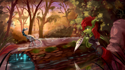 Size: 2580x1440 | Tagged: safe, artist:discordthege, oc, oc only, oc:aromia, pony, robot, clothes, commission, female, forest, horizon zero dawn, hunting, log, machine, mare, mouth hold, rock, scenery, signature, spear, tree, watcher, water, weapon