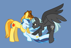 Size: 1721x1159 | Tagged: safe, artist:midnightamber, braeburn, soarin', thunderlane, earth pony, pegasus, pony, blue background, cute, eyes closed, fetish, gay, group, hug, male, polyamory, shipping, simple background, soarbraelane, soarburn, soarilane, stallion, tickle fetish, tickle fight, tickling