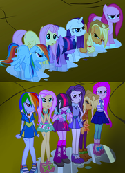 Size: 1100x1520 | Tagged: safe, artist:succubi samus, applejack, fluttershy, pinkie pie, rainbow dash, rarity, twilight sparkle, pony, equestria girls, friendship is magic, angry, bangs, boots, clothes, commission, comparison, cute, dress, equestria girls interpretation, hair over eyes, hair over one eye, high heels, humane six, leg warmers, leggings, mane six, pleated skirt, pouting, scene interpretation, school spirit, shoes, skirt, sneakers, unamused, wet, wet hair, wet mane, wet mane rarity