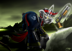 Size: 4200x3000   Tagged: safe, artist:raptorpwn3, oc, oc only, oc:blackjack, pony, unicorn, fallout equestria, fallout equestria: project horizons, absurd resolution, armor, clothes, covering, fanfic, fanfic art, female, glowing horn, gritted teeth, gun, hooves, horn, levitation, magic, mare, pipbuck, security armor, signature, solo, telekinesis, vault security armor, vault suit, wasteland, weapon