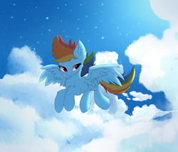 Size: 2000x1700 | Tagged: safe, artist:morningbullet, rainbow dash, pegasus, pony, chest fluff, cloud, ear fluff, female, flying, lidded eyes, mare, moon, night, sky, smiling, solo, spread wings, stars, wings