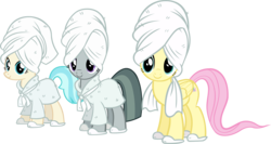 Size: 5134x2730 | Tagged: safe, artist:ironm17, coco pommel, fluttershy, marble pie, earth pony, pegasus, pony, absurd resolution, bathrobe, clothes, simple background, slippers, the council of shy ponies, towel, transparent background, trio, vector