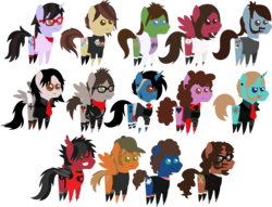 Size: 3393x2596 | Tagged: safe, artist:lightningbolt, derpibooru exclusive, bat pony, changeling, earth pony, pegasus, pony, unicorn, .svg available, andy hurley, bags under eyes, bob bryar, brendon urie, brent wilson, casual, clandestine industries, clothes, disguise, disguised changeling, ear piercing, emo, eyeshadow, facial hair, fall out boy, frank iero, frown, gerard way, glasses, group, hat, hoodie, horn piercing, joe trohman, jon walker, makeup, mikey way, my chemical romance, necktie, open mouth, panic! at the disco, patrick stump, pete wentz, piercing, pointy ponies, ponified, ray toro, ryan ross, scarf, shirt, shoes, simple background, smiling, socks, spencer smith, suit, svg, t-shirt, tattoo, transparent background, undercut, unshorn fetlocks, vector, vest, zipper