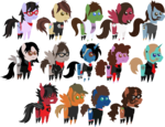 Size: 3393x2596 | Tagged: safe, artist:lightningbolt, derpibooru exclusive, bat pony, changeling, earth pony, pegasus, pony, unicorn, .svg available, andy hurley, bags under eyes, bob bryar, brendon urie, brent wilson, casual, clandestine industries, clothes, disguise, disguised changeling, ear piercing, emo, eyeshadow, facial hair, fall out boy, frank iero, frown, gerard way, glasses, group, hat, hoodie, horn piercing, joe trohman, jon walker, makeup, mikey way, my chemical romance, necktie, open mouth, panic! at the disco, patrick stump, pete wentz, piercing, pointy ponies, ponified, ray toro, ryan ross, scarf, shirt, shoes, simple background, smiling, socks, spencer smith, suit, svg, t-shirt, tattoo, transparent background, undercut, unshorn fetlocks, vector, vest, wings, zipper