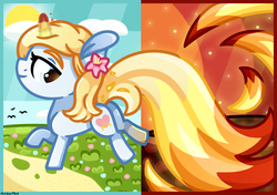 Size: 1709x1201 | Tagged: safe, artist:amberpone, oc, oc only, oc:crystal summer, pegasus, pony, unicorn, blue, blue eyes, commission, cute, cutie mark, digital art, eyebrows, fanart, female, filly, fire, flower, food, grass, horn, long tail, magic, mane, mare, orange, original character do not steal, paint tool sai, painttoolsai, pink, red, running, smiling, spell, tail, white, yellow