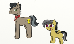 Size: 1151x695 | Tagged: alternate hairstyle, artist:leapingriver, bandana, braid, colored pupils, daring do, doctor caballeron, ear fluff, female, filly, hairband, handkerchief, looking back, mare, missing teeth, one eye closed, pony, safe, simple background, tall, white background, wink, younger