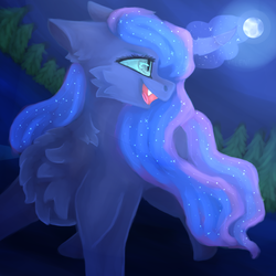 Size: 1024x1024 | Tagged: safe, artist:vvalent, princess luna, pony, chest fluff, cute, cute little fangs, eye reflection, fangs, female, forest, moon, night, reflection, solo