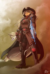 Size: 862x1280 | Tagged: safe, artist:amaraburrger, applejack, anthro, plantigrade anthro, clothes, commission, crossover, disgusted, female, hat, inquisition, inquisitor, power sword, signature, solo, sword, warhammer (game), warhammer 40k, weapon