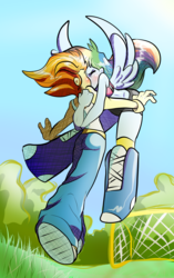 Size: 1834x2929 | Tagged: safe, artist:heyerika, rainbow dash, spitfire, equestria girls, blushing, clothes, eyes closed, female, flying, kissing, lesbian, midriff, multicolored hair, ponied up, shipping, spitdash, sports bra, tanktop, winged humanization, wings