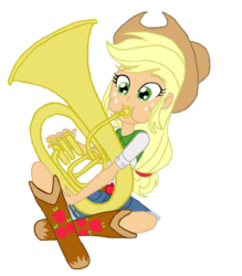 Size: 837x954 | Tagged: applejack, artist:haleyc4629, cowgirl, equestria girls, female, instrument, playing instrument, rainbow rocks, safe, simple background, solo, transparent background, tuba, tubajack, vector