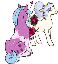 Size: 585x646 | Tagged: artist:quoting_mungo, chocolates, courtship, crystal pony, earth pony, female, flower, glitter, male, mare, oc, oc only, oc:opalescent pearl, oc:puppy love, pony, rose, safe, simple background, stallion, tail wag, transparent background