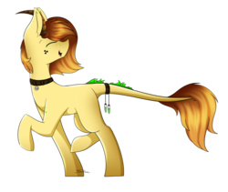 Size: 1024x865 | Tagged: safe, artist:mindlesssketching, oc, oc only, oc:polonium, object pony, original species, pony, element pony, eyes closed, horns, male, ponified, raised hoof, simple background, solo, stallion, transparent background, walking