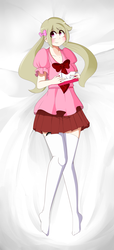 Size: 4000x8800 | Tagged: absurd res, amputee, artist:fullmetalpikmin, blushing, body pillow, body pillow design, bow, clothes, congenital amputee, female, hair bow, human, humanized, humanized oc, oc, oc:cherry blossom, oc only, on back, pigtails, prosthetic limb, prosthetics, safe, socks, solo, thigh highs, tissue box, twintails, zettai ryouiki