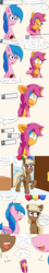 Size: 1000x5600 | Tagged: absurd res, artist:jake heritagu, ask, baby, baby pony, balloon, colt, comic, comic:ask motherly scootaloo, dialogue, earth pony, female, firefly, grandmother and grandchild, hairpin, holding a pony, lesbian, male, mare, motherly scootaloo, oc, oc:lightning blitz, oc:sandy hooves, offspring, older, older scootaloo, parent:rain catcher, parents:catcherloo, parent:scootaloo, pegasus, pony, safe, scootaloo, speech bubble, sweatshirt, tumblr