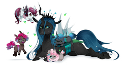 Size: 2300x1200 | Tagged: safe, artist:kraytt-05, queen chrysalis, oc, oc:cotton foam, oc:neon star, changeling, changeling queen, changepony, hybrid, nymph, annoyed, changeling oc, cute, cutealis, ear bite, female, happy, heart, interspecies offspring, magical lesbian spawn, mare, mommy chrissy, mother, next generation, ocbetes, offspring, open mouth, parent:oc:fluffle puff, parent:pinkie pie, parent:princess cadance, parent:queen chrysalis, parent:shining armor, parents:cadalis, parents:canon x oc, parents:chrysipuff, parents:chryssie pie, parents:shining chrysalis, prone, queen chrysalis is not amused, simple background, smiling, unamused, white background