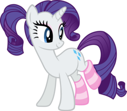 Size: 998x879   Tagged: safe, artist:rustle-rose, rarity, pony, unicorn, alternate hairstyle, clothes, cute, female, looking back, mare, ponytail, raised leg, raribetes, simple background, socks, solo, striped socks, transparent background, vector
