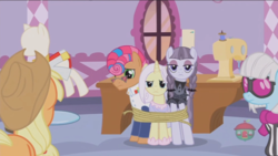 Size: 1234x694   Tagged: safe, screencap, applejack, inky rose, lily lace, photo finish, starstreak, pony, honest apple, out of context, tied up