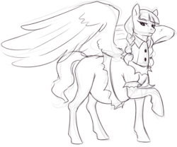 Size: 1246x1035   Tagged: safe, artist:nsfwbonbon, inky rose, pegasus, pony, honest apple, clothes, female, mare, monochrome, pregnant, sketch, solo, that was fast