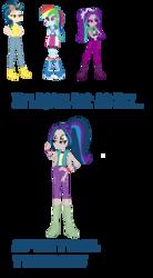 Size: 765x1383 | Tagged: safe, artist:animeponynintendo, aria blaze, indigo zap, rainbow dash, equestria girls, four arms, four eyes, fusion, multiple arms, multiple eyes
