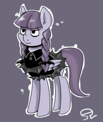 Size: 1501x1781   Tagged: safe, artist:alvh-omega, inky rose, pegasus, pony, honest apple, dark, female, goth, gray background, lidded eyes, mare, simple background, solo