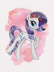 Size: 1125x1500 | Tagged: safe, artist:scheadar, rarity, pony, unicorn, female, flower, flower in hair, mare, simple background, solo, traditional art, watercolor painting