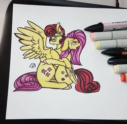 Size: 1134x1113 | Tagged: safe, artist:dawntheartsyfuk, fluttershy, posey shy, pony, comforting, crying, duo, eyes closed, hug, mother and daughter, mother's day, profile, sitting, spread wings, teary eyes, traditional art, wings