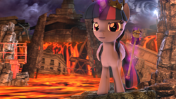 Size: 4000x2250 | Tagged: 3d, alicorn, artist:redaceofspades, lava, pony, princess twilight, ruins, safe, scepter, source filmmaker, twilight scepter, twilight sparkle, tyrant sparkle
