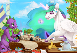 Size: 1358x934   Tagged: safe, artist:cuttledreams, princess celestia, spike, alicorn, dragon, pony, cake, canterlot, cloud, cup, female, food, gem, kettle, levitation, looking at each other, magic, male, mare, scroll, sitting, smiling, stallion, table, telekinesis