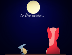 Size: 2793x2139 | Tagged: artist:arifproject, derpibooru, derpibooru ponified, earth pony, female, full moon, game:to the moon, lineless, mare, meta, moon, oc, oc:downvote, oc only, ponified, pony, rear view, safe, sitting, solo