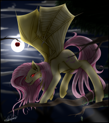 Size: 2634x2968 | Tagged: apple, artist:midfire, bat pony, cloud, female, flutterbat, fluttershy, food, full moon, glowing eyes, looking at you, mare, moon, night, open mouth, pony, race swap, red eyes, safe, slit eyes, smiling, solo