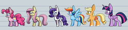 Size: 5000x1200 | Tagged: absurd res, alicorn, applejack, artist:heir-of-rick, big ears, earth pony, female, fluttershy, freckles, group, line-up, mane six, mare, missing accessory, pegasus, pinkie pie, pony, rainbow dash, rarity, safe, size difference, twilight sparkle, twilight sparkle (alicorn), unicorn
