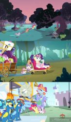 Size: 1280x2192 | Tagged: safe, screencap, apple bloom, bow hothoof, fleetfoot, rainbow dash, rarity, scootaloo, spitfire, sweetie belle, windy whistles, pony, family appreciation day, parental glideance, sleepless in ponyville, camping outfit, carrying, cutie mark crusaders, hub logo, pulling, rainbow dash's parents, strong, tower of pony, treehouse logo, treehouse tv, windyhoof