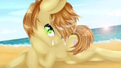 Size: 3309x1861 | Tagged: safe, artist:lixthefork, feather bangs, pony, hard to say anything, beach, male, sexy, solo
