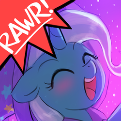 Size: 400x400 | Tagged: safe, artist:lumineko, trixie, pony, unicorn, avatar, bust, cute, diatrixes, eyes closed, female, floppy ears, mare, open mouth, portrait, rawr, rawrvatar, solo