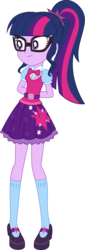Size: 3000x8837   Tagged: safe, artist:aqua-pony, sci-twi, twilight sparkle, dance magic, equestria girls, spoiler:eqg specials, absurd resolution, adorkable, arm behind back, belt, bowtie, clothes, cute, dork, female, glasses, mary janes, ponytail, sci-twi outfits, shoes, simple background, skirt, smiling, socks, solo, standing, transparent background, twiabetes, vector