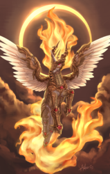 Size: 2097x3299 | Tagged: safe, artist:audrarius, nightmare star, princess celestia, alicorn, pony, rapidash, armor, cloud, eclipse, equestria is doomed, female, fire, flying, horn, outdoors, sky, smiling, solar eclipse, solo, spread wings, wings