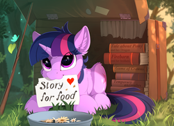 Size: 2350x1715 | Tagged: safe, artist:yakovlev-vad, twilight sparkle, butterfly, pony, unicorn, :3, adorkable, book, cute, dork, ear fluff, female, game of thrones, heart, homeless, homeless twilight, mare, mouth hold, obey, poster, prone, sign, snow white and the seven dwarfs, solo, suitcase, twiabetes, unicorn twilight, weapons-grade cute, will x for y