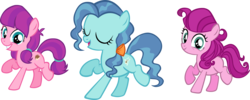 Size: 6309x2526 | Tagged: safe, artist:ironm17, lily longsocks, petunia paleo, strawberry parchment, earth pony, pony, absurd resolution, bow, dancing, eyes closed, female, grin, group, hair bow, mare, simple background, singing, smiling, transparent background, trio, vector