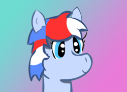 Size: 900x656 | Tagged: artist:bizarredavid, bust, gradient background, oc, oc only, oc:recon probe, pony, safe, smiling, solo