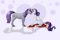 Size: 3049x2035   Tagged: safe, artist:cookiemoonloo, maud pie, rarity, classical unicorn, pony, unicorn, female, high res, horn ring, leonine tail, lesbian, missing accessory, pillow, rarimaud, shipping, sitting, unshorn fetlocks